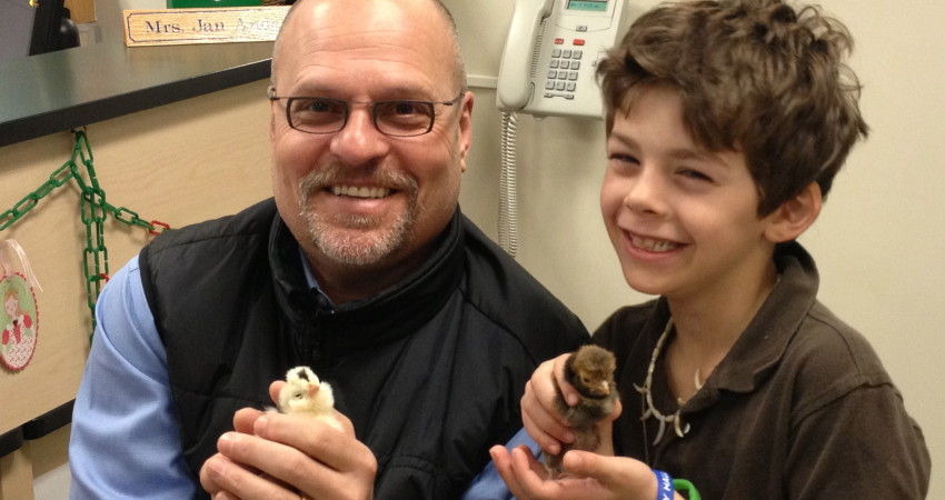 Sam Shares his Chickadees with Mr. de Nat